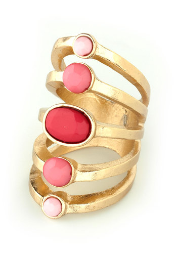Ornate Orbits Ring - Pink, Gold