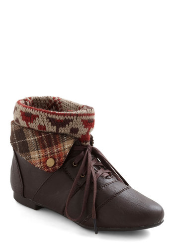 Ru-stick With Me Bootie - Brown, Multi, Plaid, Print, Knitted, Flat, Lace Up, Faux Leather, Rustic, Fall