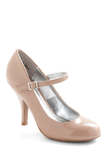 Impeccable Poise Heel - Tan, Solid, Work, Mid, Mary Jane, Faux Leather, Vintage Inspired, Graduation