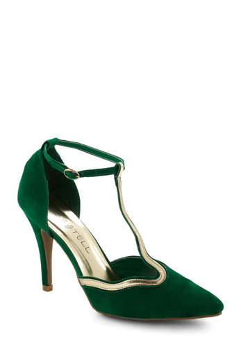 Winding My Way Heel in Forest - Green, Gold, High, Luxe, Party, Holiday Party, Vintage Inspired, Pinup