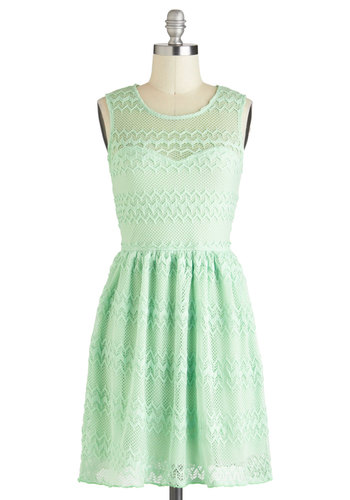 It's Only Mint Believe Dress - Solid, Lace, A-line, Sleeveless, Sheer, Short, Mint, Pastel, Casual, Spring, Press Placement