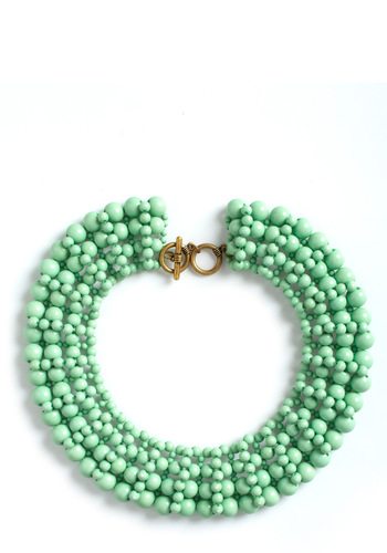 Beaded Bliss Necklace - Green, Solid, Beads, Party, Statement, Mint