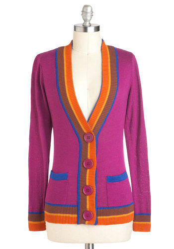 Art Club President Cardigan in Magenta - Pink, Orange, Buttons, Pockets, Long Sleeve, Cotton, Mid-length, Blue, Statement, Tis the Season Sale
