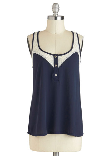 Lacy Day In Tank in Navy - Black, White, Solid, Buttons, Lace, Casual, Racerback, Sheer, Mid-length, Scoop