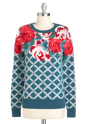Trellis Is More Sweater - Cotton, Mid-length, Floral, Novelty Print, Print