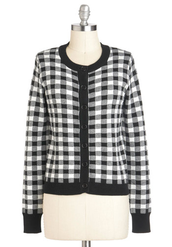 Homespun Away from Home Cardigan - Mid-length, Black, White, Checkered / Gingham, Buttons, Casual, Scholastic/Collegiate, Tis the Season Sale