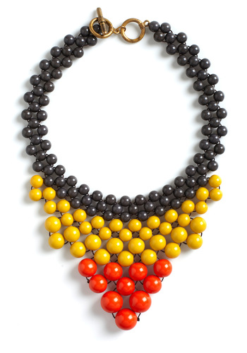 Cascade Games Necklace - Multi, Orange, Yellow, Grey, Solid, Beads, Statement