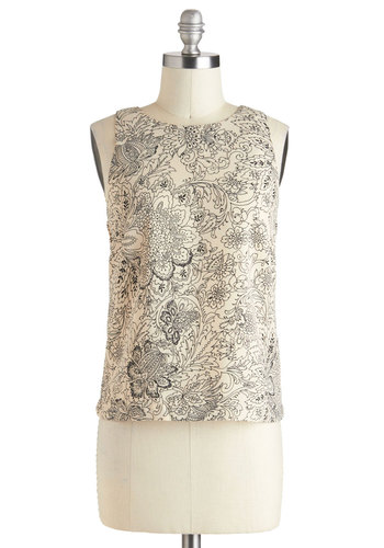 Floral It's Worth Top - Black, Floral, Exposed zipper, Sleeveless, Mid-length, Tan / Cream