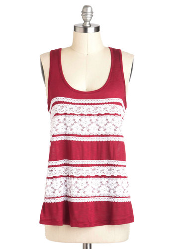 Floral You Need Is Love Top - Red, White, Lace, Casual, Tank top (2 thick straps), Sheer, Mid-length, Scoop, Jersey