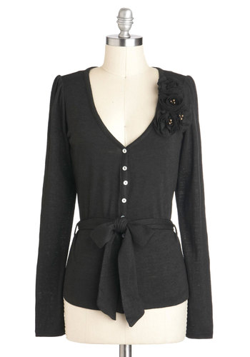 Greenhouse Party Cardigan in Black - Mid-length, Black, Solid, Buttons, Flower, Pearls, Belted, Work, Long Sleeve
