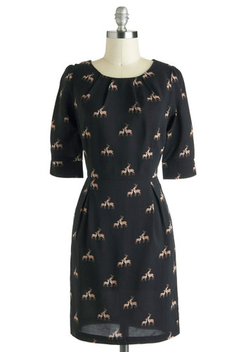 Hello, Deer Dress by Sugarhill Boutique - Mid-length, Black, Tan / Cream, Print with Animals, Shift, 3/4 Sleeve, Fall, Casual, International Designer, Work