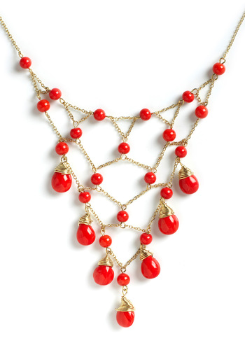 Bollywood Starlet Necklace by Mata Traders - Red, Gold, Solid, Tiered, Beads