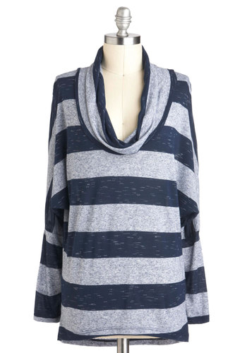 Keep it Light Top - Sheer, Jersey, Blue, Grey, Stripes, Casual, Fall, Mid-length