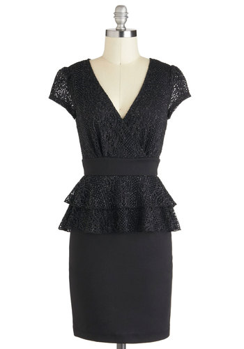 Speechwriter's Recognition Dress - Solid, Cocktail, V Neck, Black, Peplum, Short Sleeves, Jersey, Sheer, Mid-length, Crochet, Holiday Party, Tiered