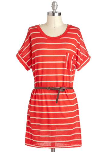 Evening of Leisure Tunic - Red, White, Stripes, Pockets, Casual, Short Sleeves, Jersey, Belted, Long