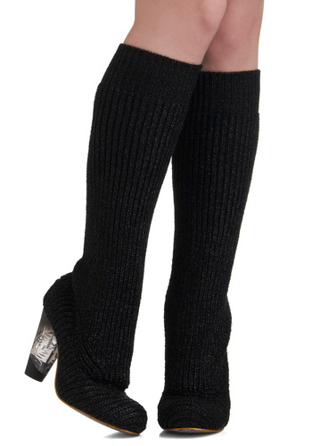 Girls' Knit Out Heel by Irregular Choice - Mid-length, Black, Knitted, Fall