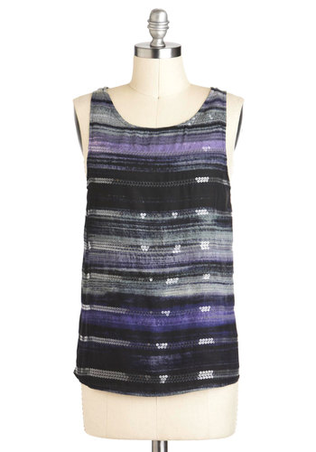 Stateroom View Top by BB Dakota - Mid-length, Multi, Purple, Black, Grey, Stripes, Sequins, Casual, Sleeveless