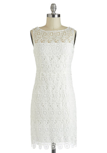 Marshmallow Creme Frosting Dress by BB Dakota - Mid-length, White, Solid, Cutout, Lace, Cocktail, Shift, Sleeveless, Boat, Wedding, Party, Fairytale, Sheer, Graduation