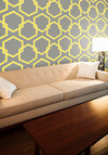 Oak Park Temporary Wallpaper - Grey, Yellow, Vintage Inspired, Mod, Mid-Century, Print, Best