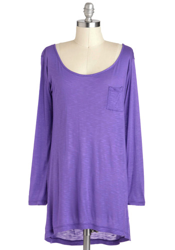 Girls Just Wanna Have Plum Top - Jersey, Sheer, Purple, Solid, Pockets, Casual, Long Sleeve, Mid-length, Minimal, Scoop, Travel, Purple, Long Sleeve