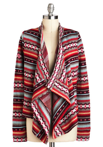 A Fireplace of Your Own Cardigan - Multi, Print, Casual, Long Sleeve, Fall