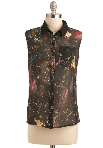 Moon Rock Concert Top - Sheer, Mid-length, Black, Red, Yellow, Print, Buttons, Girls Night Out, Sleeveless