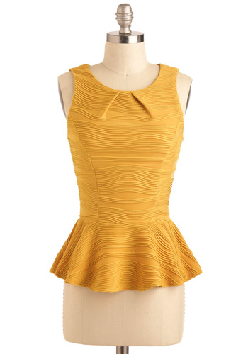 Ripple Tide Top - Yellow, Print, Peplum, Sleeveless, Short, Party, Work