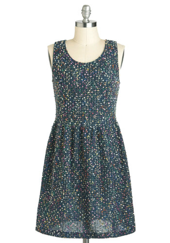 Whisper Tweed Nothings Dress - Blue, Casual, A-line, Short, Multi, Sleeveless, Work