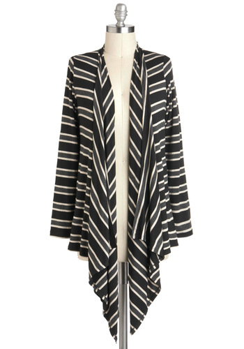 Flight of the Contours Cardigan - Black, Grey, White, Stripes, Casual, Long Sleeve, Mid-length, Top Rated