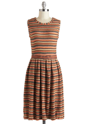 Meet Me in Nature Dress by Pink Martini - Long, Orange, Multi, Stripes, Pleats, Casual, Sleeveless, Fall, Knitted, Sweater Dress, Rustic