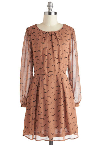 On Echolocation Dress by Sugarhill Boutique - Tan, Black, Print with Animals, Casual, A-line, Long Sleeve, Fall, Mid-length, Exposed zipper, Novelty Print, Quirky, International Designer