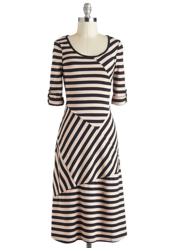 All Stripes on You Dress - Tan / Cream, Stripes, Casual, 3/4 Sleeve, Long, Black, A-line