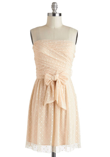 Buttercream Icing Dress - Ruching, Daytime Party, Strapless, Mid-length, Cream, Belted, Fairytale, Wedding, Party