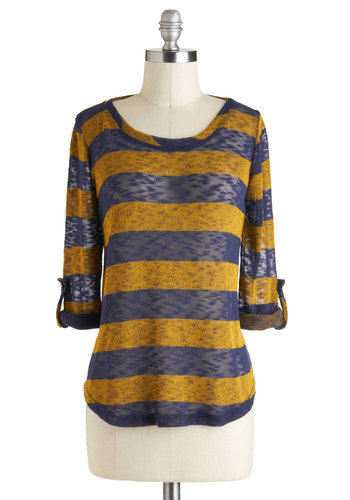 Telegraph Ave Top - Yellow, Blue, Stripes, Casual, Long Sleeve, Sheer, Menswear Inspired, Mid-length, Travel