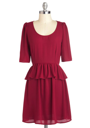 Mulled Wine and Dine Dress - Red, Solid, Work, Peplum, 3/4 Sleeve, Mid-length, Casual, Minimal