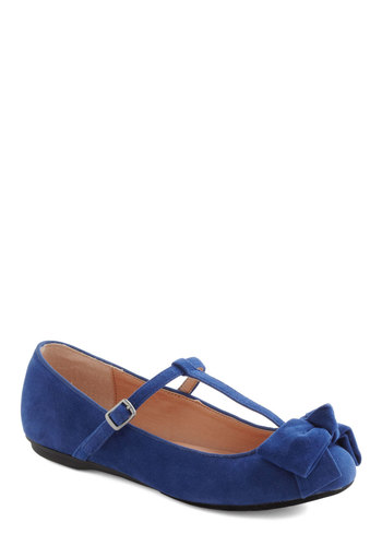Boutique My Interest Flat in Blue - Blue, Solid, Bows, Flat, Casual, Variation