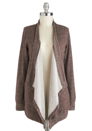 Spiced Cocoa Cardigan - Brown, Solid, Casual, Long Sleeve, Pockets, Mid-length