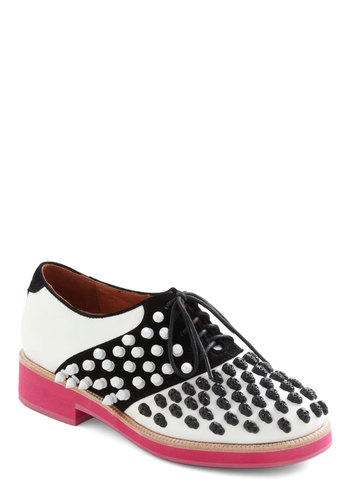 Everything's Skull Flat by Jeffrey Campbell - Pink, Studs, Menswear Inspired, Lace Up, Low, Leather, Black, White