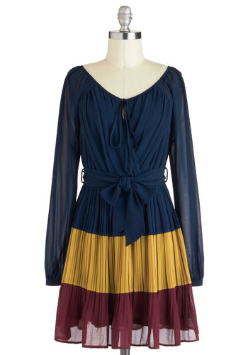 Hot Mulled Cider Dress - Short, Blue, Red, Yellow, Pleats, Belted, Casual, Colorblocking, A-line, Long Sleeve, Fall