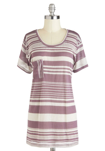 Lavender Latte Top - Brown, White, Stripes, Pockets, Casual, Short Sleeves, Sheer, Long, Jersey, Menswear Inspired
