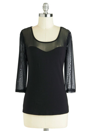 The Choice is Sheer Top - Black, Solid, Party, Girls Night Out, Long Sleeve, Sheer, Sweetheart, Mid-length, Jersey, Cotton, Scoop, Black, 3/4 Sleeve