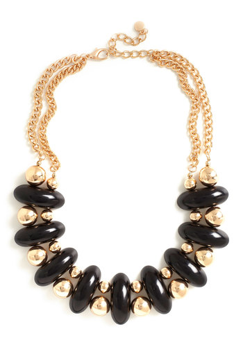 Ebony and Golden Beads Necklace - Black, Gold, Beads, Party, 80s, Statement, Holiday Party