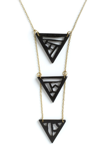 Follow My Lead Necklace by Mata Traders - Black, Gold, Solid, Tiered