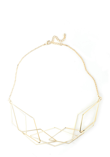 Prism and Proper Necklace - Gold, Holiday Party, Statement