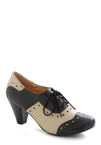 School-astic Heel in Black by Chelsea Crew - Black, Tan / Cream, Solid, Menswear Inspired, Lace Up, 20s, 30s, Leather, Faux Leather, Mid-length, Tis the Season Sale