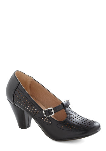 Back to Square Fun Heel in Black by Chelsea Crew - Black, Solid, 20s, 30s, Leather, Faux Leather, Low, Tis the Season Sale, Variation