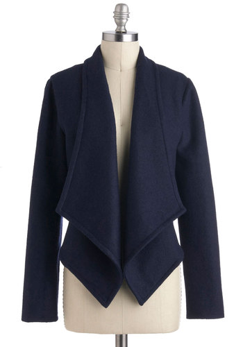 Cas-cadence of Verse Jacket - Blue, Solid, Long Sleeve, Short, 2, Work, Minimal, Fall, Tis the Season Sale