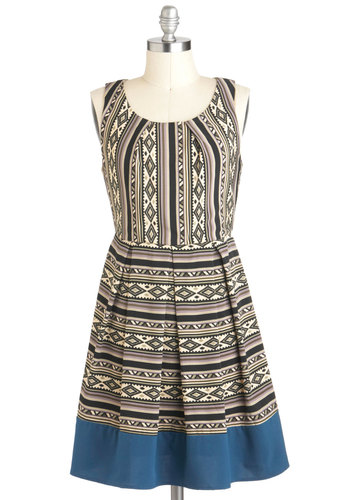 Casual Cadence Dress - Short, Multi, Print, Pleats, Casual, Folk Art, A-line, Sleeveless, Tis the Season Sale, Fit & Flare