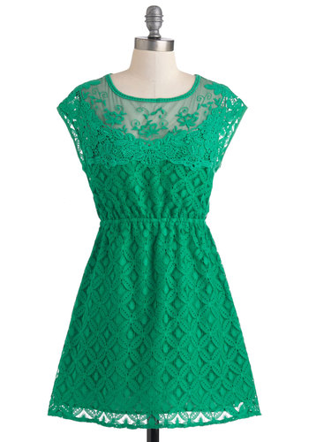 Abundant Bliss Dress - Short, Green, Solid, Lace, Casual, A-line, Cap Sleeves, Backless, Tis the Season Sale