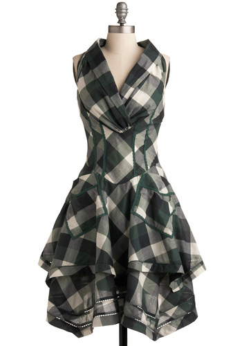 Modern Fairytale Dress - Tiered, A-line, Halter, Green, Blue, Tan / Cream, Short, Plaid, Steampunk, Cotton, Party